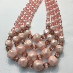 Vintage pink pearl style bead & Crystal Necklace